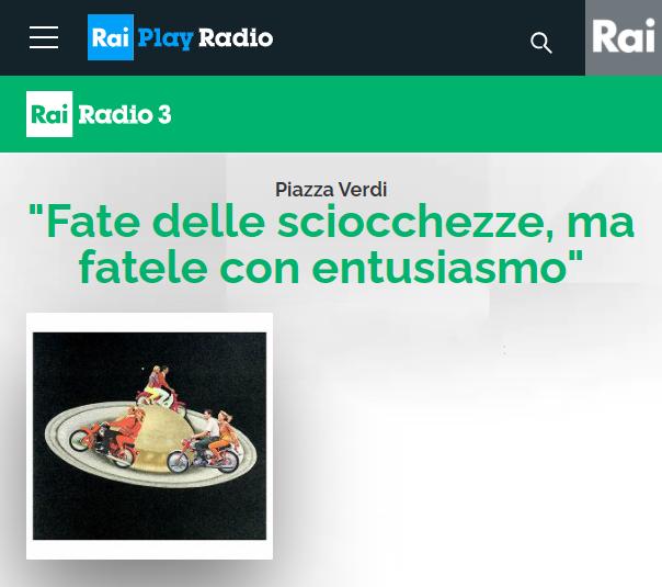 Interview Rai Radio 3 Piazza Verdi